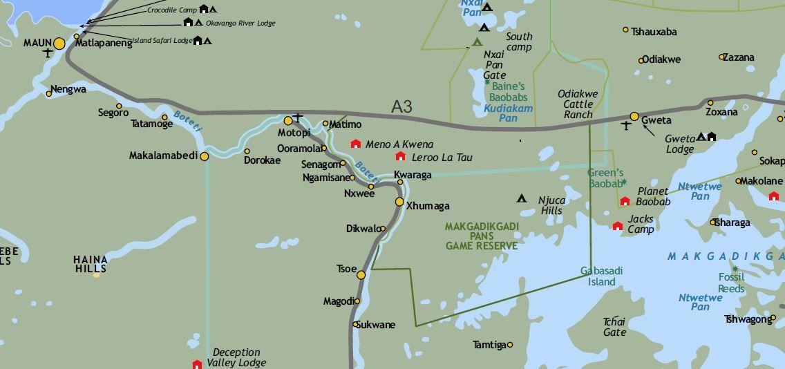 Mapa de Parque Nacional de Makgadikgadi