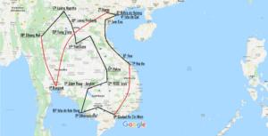 Mapa de nuestra ruta por Vietnam, Camboya y Laos