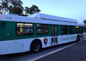 Autobuses que recorren los diversos miradores del Gran Cañon