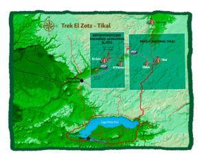Mapa del Maya Trek, trekking por selva del Peten, Guatemala