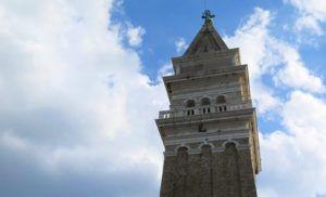 Catedral de San Jorge, el campanille, Piran, Eslovenia