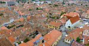 Vistas del casco antiguo de Sibiu, Rumania