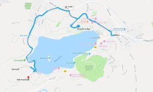 Mapa del Lago Bled y los  miradores de  Osojnica y el de Ojstrica