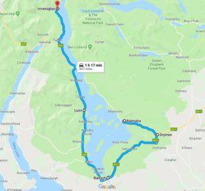 Mapa y ruta del Loch Lomond, Escocia