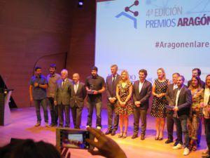 Foto de grupo de todos los premiados en la cuarta edición de Aragón en la Red.