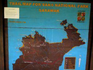Mapa de los senderos del Parque Nacional de Bako