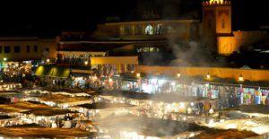 Plaza de Jamaa el Fna por la noche, Marrakech