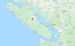 Mapa de la Isla de Vancouver, Canadá