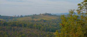 Vistas a los campos de la Toscana