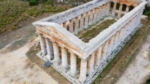 El Templo de Segesta a vista de Dron, Sicilia