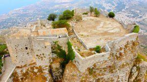 Castillo de Vanere de Erice a vista de dron