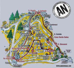 Mapa turístico de Erice, Sicilia